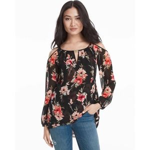 WHBM Cold Shoulder Floral Print Blouse Size Small